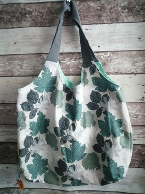 Shopper Tasche Einkaufstasche Blatt Blätter handgemacht Handarbeit handmade SaSch Selbstgefertigtes aus Schwaben