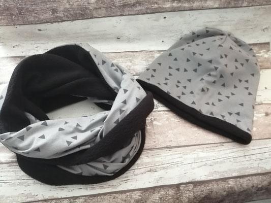 Loop Schal Beanie Mütze Set Triangle handgemacht Handarbeit handmade SaSch Selbstgefertigtes aus Schwaben
