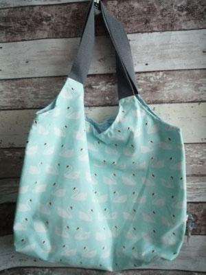 Shopper Tasche Einkaufstasche Schwan Schwäne handgemacht Handarbeit handmade SaSch Selbstgefertigtes aus Schwaben