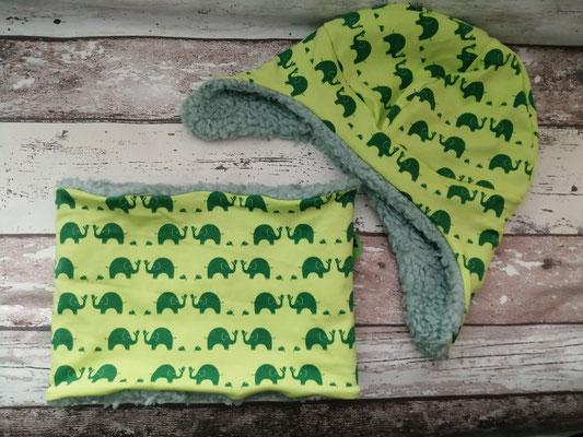 Loop Schal Wintermütze Mütze Set Elefant Elefanten handgemacht Handarbeit handmade SaSch Selbstgefertigtes aus Schwaben