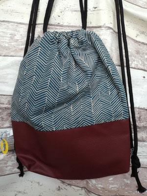 Turnbeutel Gymbag Rucksack bordeaux handgemacht Handarbeit handmade SaSch Selbstgefertigtes aus Schwaben