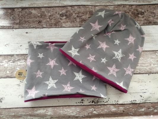Loop Schal Beanie Mütze Set Sterne handgemacht Handarbeit handmade SaSch Selbstgefertigtes aus Schwaben