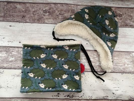 Loop Schal Wintermütze Mütze Igel Tiere handgemacht Handarbeit handmade SaSch Selbstgefertigtes aus Schwaben