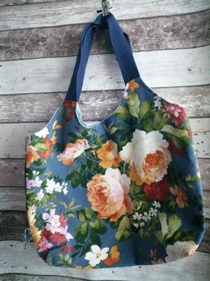 Shopper Tasche Einkaufstasche Blumen Rosen handgemacht Handarbeit handmade SaSch Selbstgefertigtes aus Schwaben