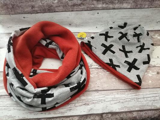 Loop Schal Beanie Mütze Set Cross handgemacht Handarbeit handmade SaSch Selbstgefertigtes aus Schwaben