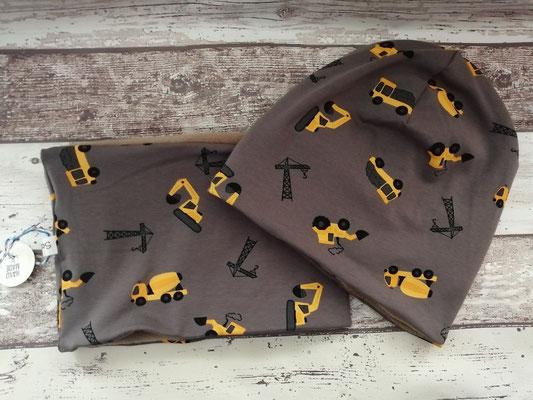 Loop Schal Beanie Mütze Set Baustelle Fahrzeuge handgemacht Handarbeit handmade SaSch Selbstgefertigtes aus Schwaben