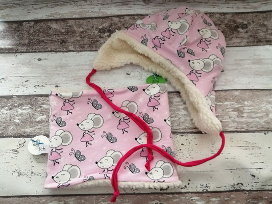 Loop Schal Wintermütze Mütze Maus Mäuse handgemacht Handarbeit handmade SaSch Selbstgefertigtes aus Schwaben
