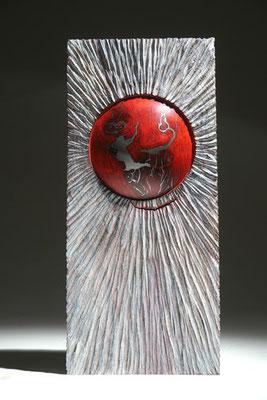 """""""Soleil rouge"""" loupe de frêne - h 35 cm - 2008"""