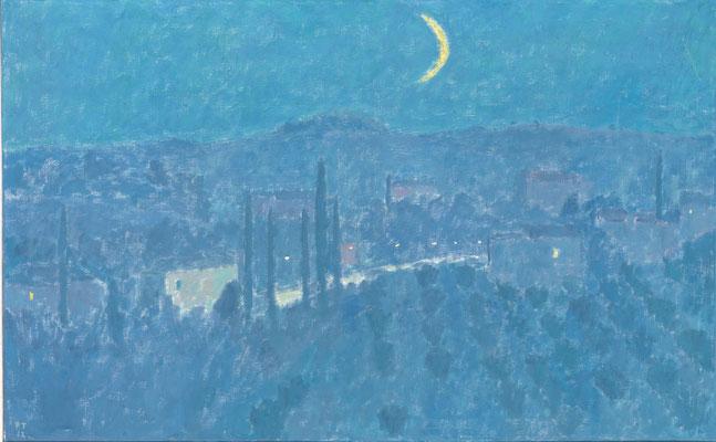 Toskanische Nacht, 1972, Öl/Leinwand, 81 x 130 cm