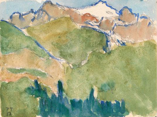 Berglandschaft, 1953 Aquarell, 13,6 x 18,4 cm