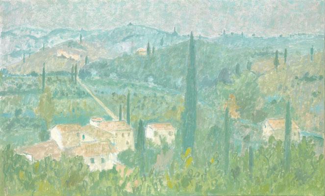 Toskanische Landschaft, 1973, Öl/Leinw., 89 x 146 cm