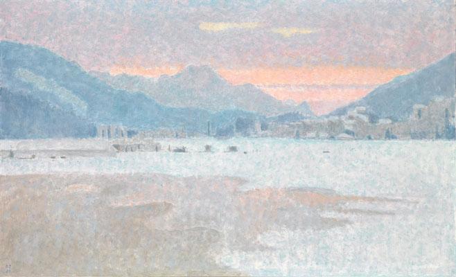Winterabend, 1993, Öl/Leinwand, 89 x 146 cm