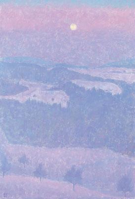 Winterabend, 1985, Öl/Leinwand, 130 x 89 cm