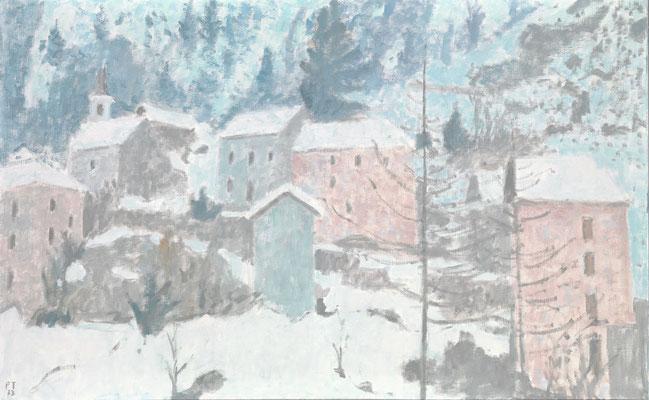 Fusio im Winter, 1973, Öl/Leinwand, 81 x 190 cm