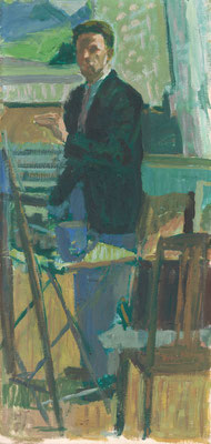 Selbstportrait, 1951, Öl/Pavatex, 55,5 x 30.5 cm