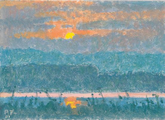 Sonnenuntergang am Murtensee, 2001,               Öl/Karton, 18,5 x 26 cm