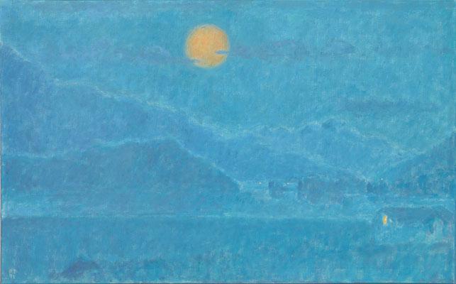Engadiner Sommernacht, 1972, Öl/Leinw., 83 x 132 cm