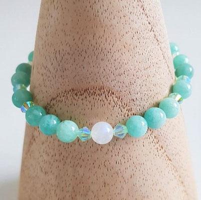 bracelet en amazonite et perles Swarovski