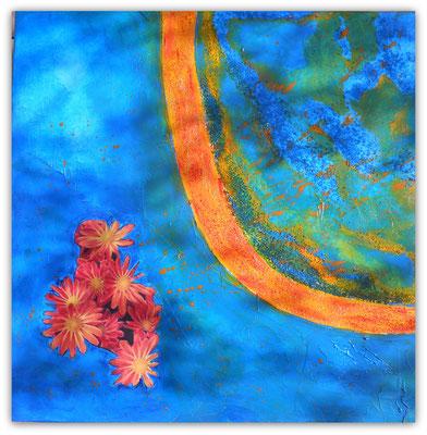 C    wie   Cyanblau mit Chrysanthemen