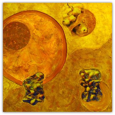 O    wie   Ocker und Orange mit Obst