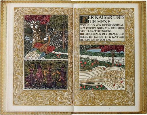 Titelblatt aus: Hugo von Hofmannsthal: Der Kaiser und die Hexe. Illustriert von Heinrich Vogeler. Berlin: Insel 1900. © Prof. Ulrich Schulz, Karlsruhe.