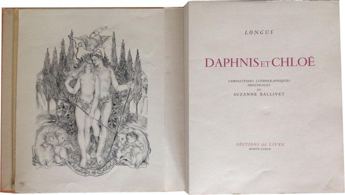 Titelblatt aus: Longus: Daphnis et Chloé. Illustriert von Suzanne Ballivet. Monte-Carlo: Editions du Livre 1946.
