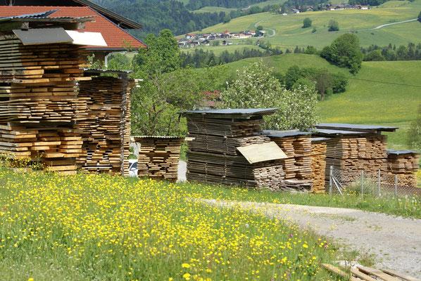 das Freiluft-Holzlager der Tischlerei Buchauer