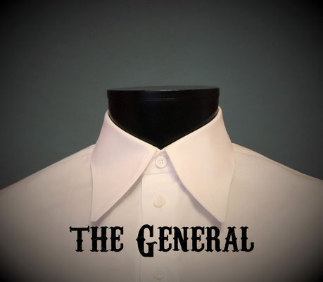 The General: Men's dress shirt with long straight collar, Victorian Steampunk barberstyle - tailormade