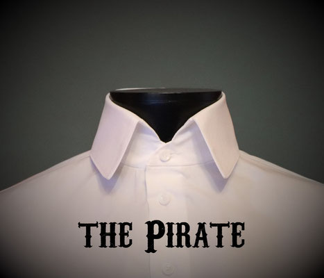 The Pirate: Men's dress shirt with one button open Italian style high collar, Victorian Steampunk barberstyle - tailormade