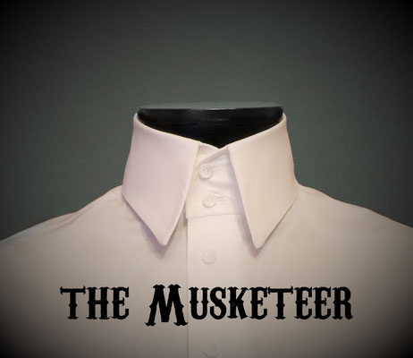 The Musketeer: Men's dress shirt with two button Italian high collar, Victorian Steampunk barberstyle - tailormade