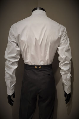 Excalibur Belgium Tailored men's dress shirt Victorian Steampunk barberstyle, tailormade - Back