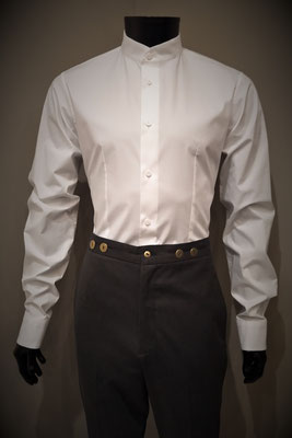 Excalibur Belgium Tailored men's dress shirt Victorian Steampunk barberstyle, tailormade - Front