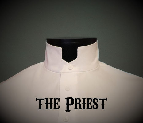 The Priest: Men's dress shirt with roman clergy style collar, Victorian Steampunk barberstyle - tailormade