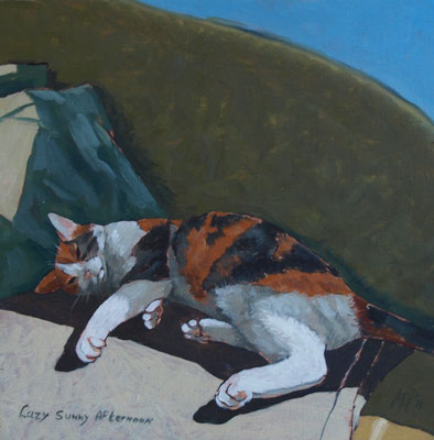 Lazy Sunny afternoon 20x20cm, olieverf op paneel (particuliere collectie)