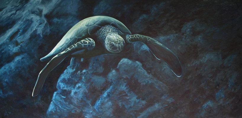 Schildpad 100x200cm, olieverf op doek