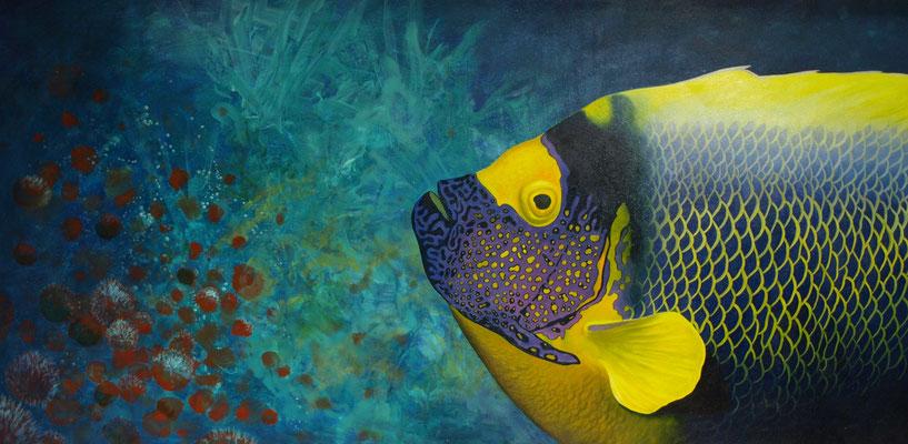 Tropische vis 61x122cm, olieverf op paneel