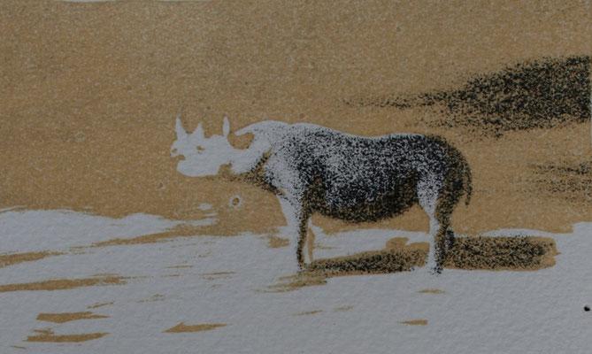 Zwarte neushoorn 7x12cm, litho oplage 30