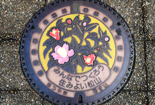 松山市花・やぶ椿をあしらったマンホール