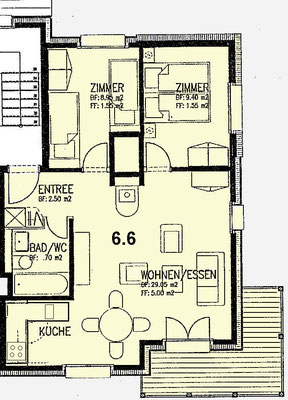 Wohnungsplan Wohnung 6.6 Alpine Village, Lauchernalp, Wallis