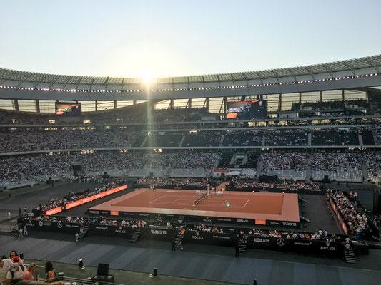 """Beim Benefiz-Tennisspiel """"Match in Africa"""" von Roger Federer"""