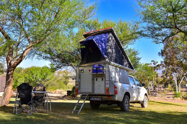 Heinz aufgebaut auf dem Warmwaterberg Spa Campsite