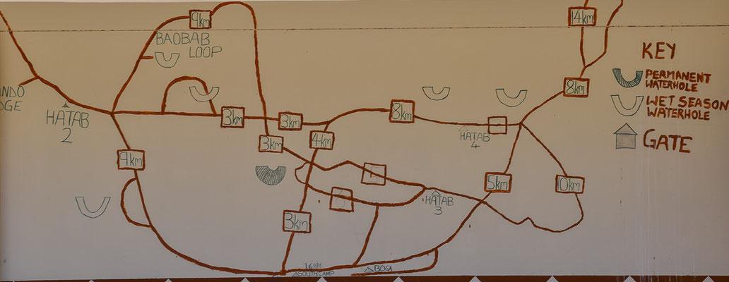 """Unsere """"Map"""", am Office abfotografiert, befahrbar war nur der untere mittlere Loop"""