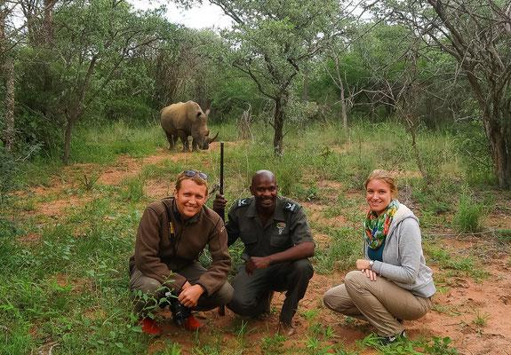 Mit Guide Sidney ganz nah an den Nashörnern