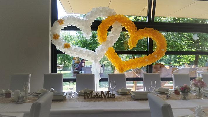 Hochzeitsdeko Ballons - Doppelherzform zum Aufstellen