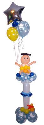 Baby mit Ballons auf Säule - zur Taufe