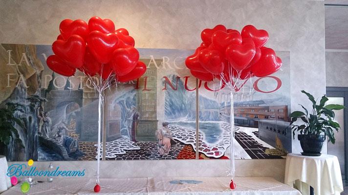 Ballons in Herzform - 38 cm - mit Heliumfüllung