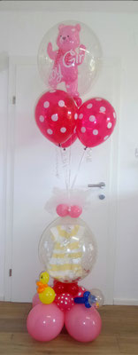 Baby Arrangement mit Stuffed Balloon - Pink
