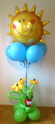 #11 - Blumen Arrangement Käfer - optional mit Sonne und Himmel-Heliumballons