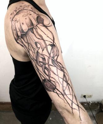 abstract jellyfish tattoo