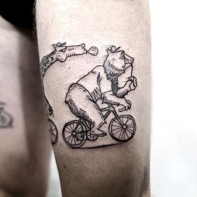 animals bike arty tattoo